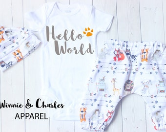 Hello World, Baby Clothes, Baby Take Home Outfit, Baby Hat, Newborn, Coming Home Outfit, Baby Gift, Baby Leggings
