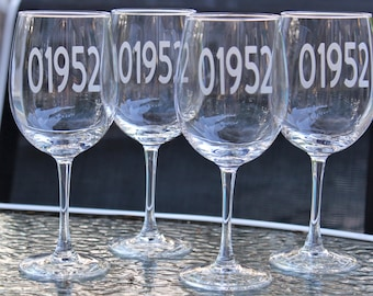 Custom Etched Zip Code Glasses-Choice of Style-Choice of Quantity- Housewarming Gift, Wedding Gift, Shower Gift