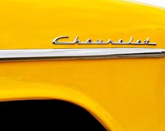 Yellow Chevrolet Cursive Lettering Car Photography, Automotive, Auto Dealer, Classic, Mechanic, Boys Room, Garage, Dealership Art