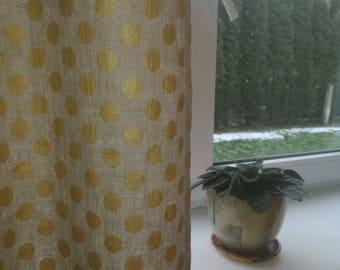 Natural Linen Drapes - Grey Linen Curtain - Polka Dot Linen Curtain - Natural Linen Drapes with dots - Linen Cafe Curtain - Pure Linen Drape