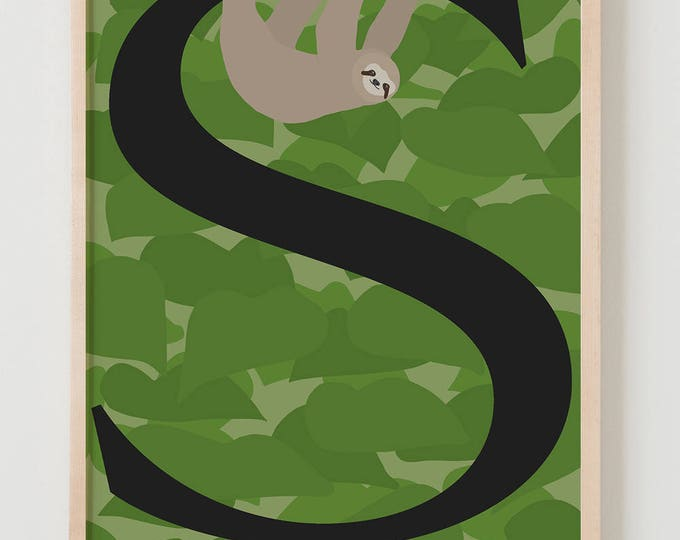 Animal Alphabet, S is for Sloth Fine Art Print