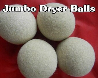 4 JUMBO Alpaca Wool Dryer Balls - Straight from the Farm - Felted Natural Creamy White - Four XL