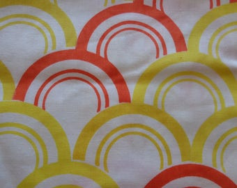 VINTAGE 1970's Yellow Orange Circle Cotton Fabric - available