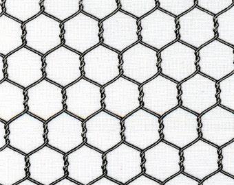Gray & White Chicken Wire Fabric, Elizabeths Studio, Landscape Medley ELS 355 White, Chicken Wire Quilt Fabric, Cotton