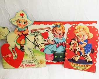 Valentine Cards, Pirate, Rocking Horse and Sewing, Kids Theme, Lot of 3, Mid Century, Vintage, Used Ephemera, Collectible