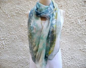 Gray Infinity Scarf, Chiffon Scarf, Silk infinity scarf, Pastel scarf in blue-gray shades, Neutral Scarf, Floral Scarf, Gray Scarf