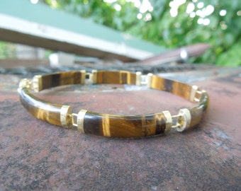 Oriental 10K Tigers Eye Linked Bracelet