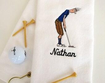 "Mens Golf Gift - Personalized Golf Towel - Golf Towel ""Golf Dude Putting"" White towel # golf 002W"