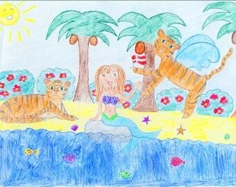 Little Mermaid Flying Tiger Postcard