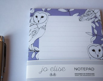Owl Illustrated Notepad, Shopping List