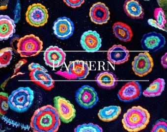 Granny Square Flower Garden Afghan Pattern,