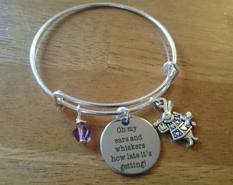 Oh my ears and whiskers how late it's getting quote silver expandable bracelet/necklace/key ring options