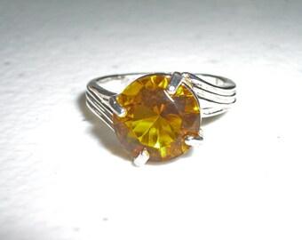 Quartz Ring - Yellow Quartz & Sterling Silver Ring - Ladies Ring Size 7