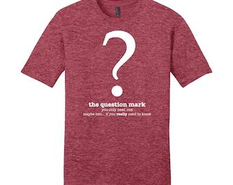 Funny Men's Shirt, Question Mark, Grammar Shirt, Punctuation Shirt, Grammar Police Shirt, English Teacher Gifts for Teachers, Typography Tee
