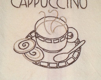 Cotton Dishtowel with Cappuccino Theme