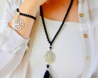 Black Allah Islamic Necklace, Silver Muslim Necklace, Arabic Name Jewelry, Dhikr,  Worry Beads, Tasbeeha, Worship Doa Eid Devotion 99 Sibhah