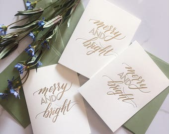SET OF 5: Merry and Bright Holiday Card - Letterpress Gold Foil- Christmas Cards