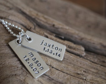 Riveted dog tag name and date necklace - mom jewelry - dad necklace - sterling silver dog tag - personalized jewelry