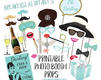 Breakfast at Tiffany's Photo Booth Props Audrey Hepburn Bridal Shower Bachelorette Engagement Party Printable Photobooth Sign Wedding PCBTPS