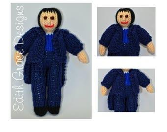Jane Austen Doll Toy Knitting Pattern, Mr Darcy, Jane Austen Gifts, Georgian, Empire Line Dress, Pride and Prejudice, Regency, Rag Doll