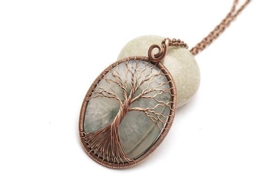 Baum des Lebens Anhänger Halskette Stammbaum Draht gewickelt