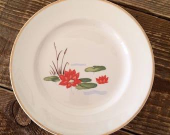 Vintage Set of 5 Lily Pad Bread & Butter Appetizer Tapas Dessert Plates