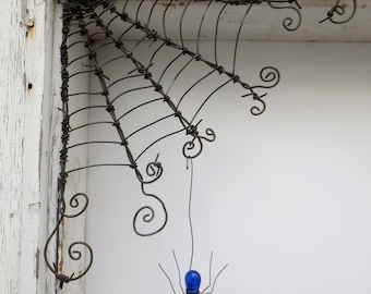 """Czechoslovakian Blue Spider Dangles From 12""""  Barbed Wire Corner Spider Web"""