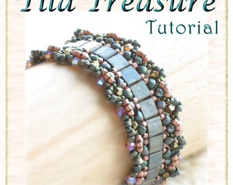 Bracelet Tutorial / Pattern: Tila Treasure - Instant Download PDF