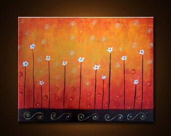 "Original Oi Painting. Abstract Contemporary Impasto palette knife painting. ""Garden of JOY- 2"". Free Shipping inside US."