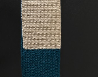 Infinity Scarf, Colorblock, Crochet Scarf, Perfect Color Block Tan and Dark Teal Hand-Crocheted Infinity Scarf; Winter Accessory