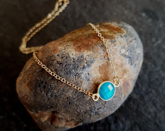18K Gold fill tiny Turquoise necklace choker small blue gemstone stacking layering December Birthstone jewellery minimalist Jewelry gift