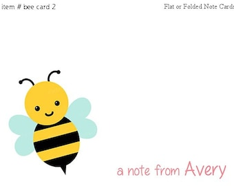 Bumble Bee Note cards Personalized Stationery Set of 10 flat or folded notecards