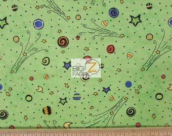 """Halloween Delight Green By TRD Portfolio For Wilmington Prints 100% Cotton Fabric 45"""" Wide By The Yard (FH-1723)"""