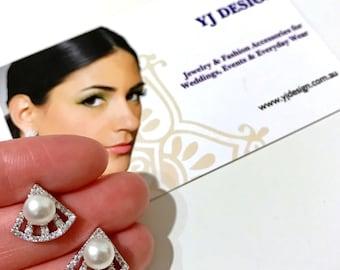 Pearl Bridal Earrings, Art Deco Bridal Earrings, FAN Wedding Earrings, Posts Studs Earrings, Cz Zirconia Earrings, Wedding Gift for Her