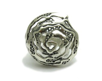 Sterling silver ring spiral solid 925 handmade pendant