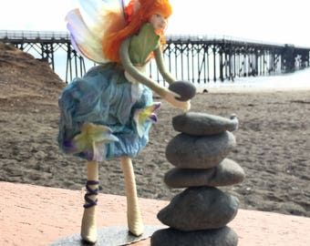 "Fae Folk® Fairies - FEYA - Garden Fairy. Bendable, posable 5"" soft doll can sit, stand, or hang."