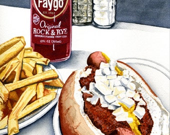 Faygo Rock and Rye Soda, Coney and Fries Watercolor Print