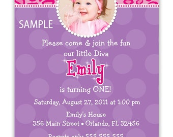 Pink And Purple Leopard Print Diva Birthday Invitation 2 different Designs (You Print)
