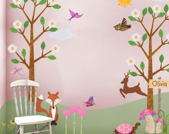 Forest Wall Decals - Woodland Stickers for Girls Room - JUMBO SET