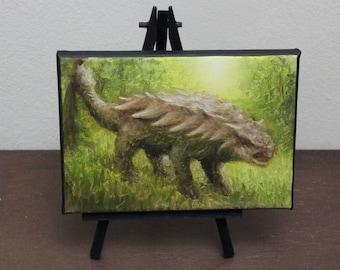 "5x7"" Mini Painting, Original Oil Painting - Dinosaur Ankylosaurus Wall Art"