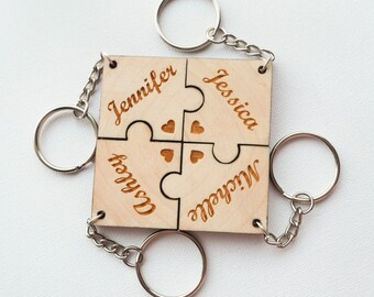 REAL WOOD Best Friend Key Chain Set-Set of 4 puzzle piece keychains-Personalized Keychains-Best Friend Gift-Anniversary/Valentine's Gift