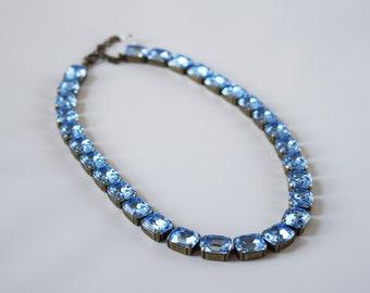 Sky Blue Collet Necklace, Light Blue Rivere Necklace, Swarovski Crystal Necklace, Light Blue Paste Glass, Georgian Jewelry, Azure Ocean Blue