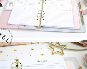 Printed Recipe book, Recipe cards, Recipe template, Recipe planner, Planner A5, A5 Planner inserts, Printed A5 inserts, Planner refill