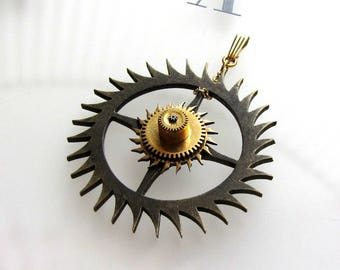 Steampunk Sun Burst Starburst Pendant, Rare Antique Clock & Pocket Watch Parts Gears, Rustic/Fine, Compass Rose Design, OOAK Steampunkology
