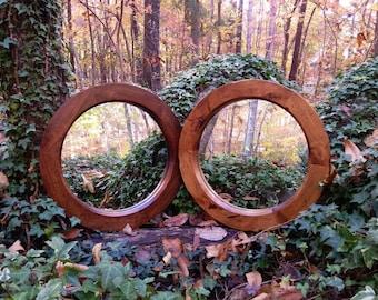 Round Mirror, Rustic Round Mirror, Small Round Mirror, Accent Mirror, Alder Mirror, Round Wood Mirror