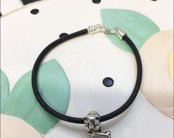 Bulldog Sterling Silver Charm on a Black Leather Cord Bracelet