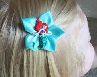Disney's Ariel, The Little Mermaid Hair Clip/ Hair Bow, Sea Green Ribbon, Kanzashi