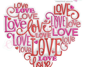 Love Word Jumble Heart - Love Valentine Wedding Marriage Husband Wife  -  Instant Download Machine Embroidery Design