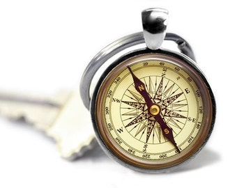 Compass keychain Fathers Day gift  travel key ring compass photo key chain. Compass image is a photo...this is NOT a real compass.