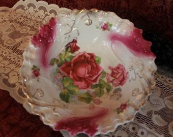 Antique PS Germany Sorau Porcelain Rose Floral Serving Bowl ca 1898-1918